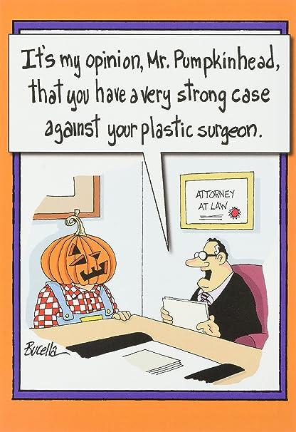 Amazon 3111 pumpkinhead plastic surgery funny halloween 3111 pumpkinhead plastic surgery funny halloween greeting card with 5quot x 7quot m4hsunfo
