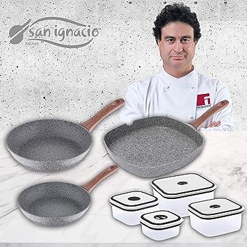 San Ignacio Set de 3 sartenes Granito + 4 recipientes herméticos, fiambreras: Amazon.es: Hogar
