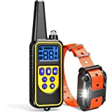 Dog Training Collar, F-color Waterproof and Rechargeable Dog Shock Collar 2600ft Remote Range with Beep Vibrating Shock LED Light for Medium and Large Dogs,Dog Electronic Collar For Training