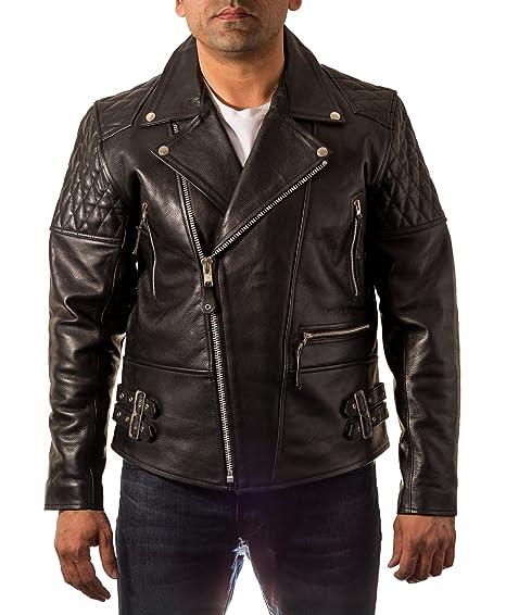 Mens Black Brando Padded Quilted shoulder// Sleeves Double Belt Biker Jacket