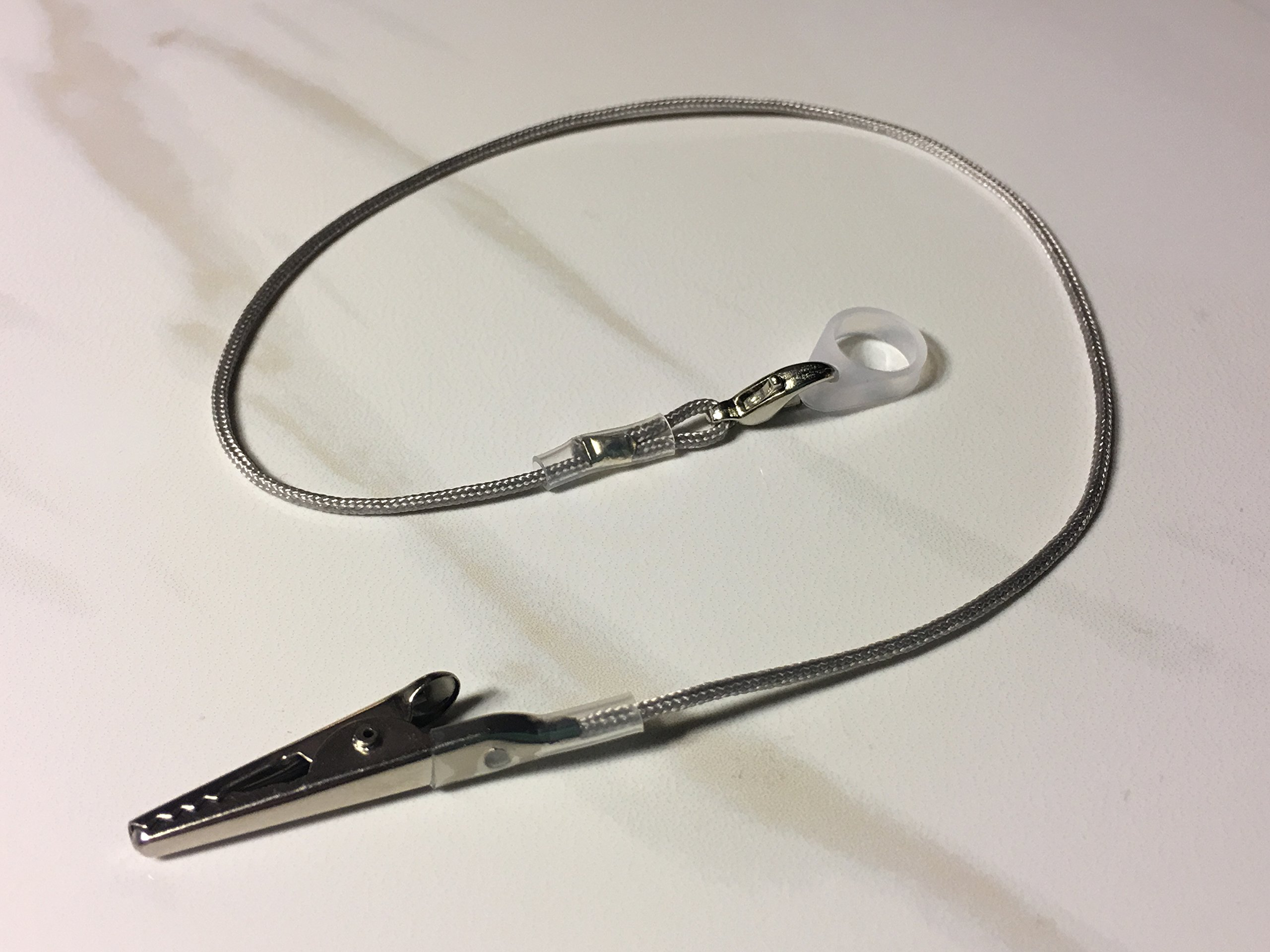 Single Grey Lanyard Clip for Hearing Aids or Cochlear Implants