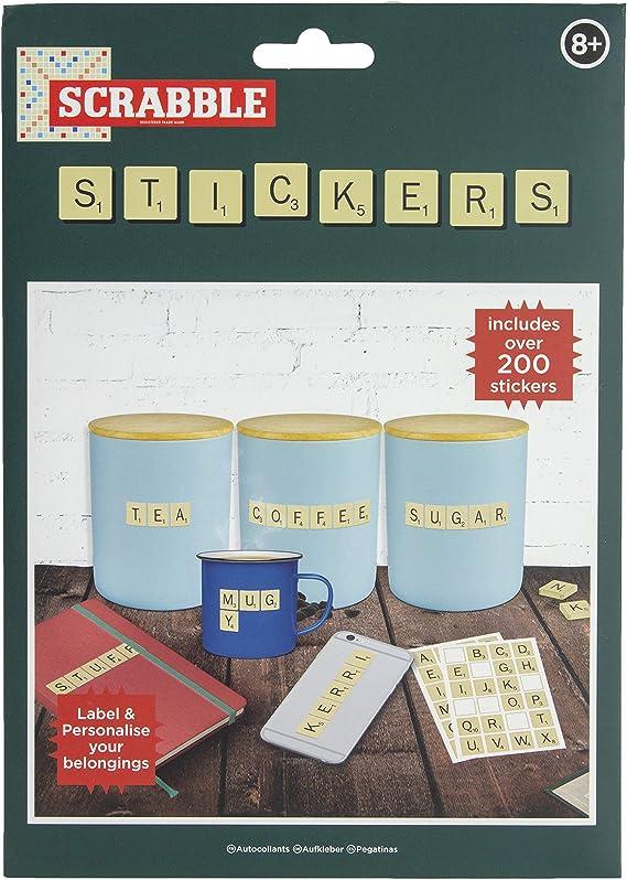 Paladone PP4944SCR - Juego de 200 pegatinas decorativas para el hogar y la oficina, diseño de letra de Scrabble: Amazon.es: Juguetes y juegos