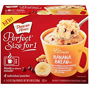 Duncan Hines Perfect Size for 1 Breakfast Muffin & Cake Mix, Ready in About a Minute, Banana Bread, 4 Individual Pouches