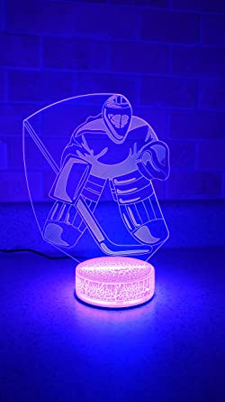 Goalie Hockey Player 3d Night Light 7 Color Led Amazon Com