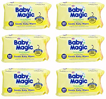 Baby Magic Gentle Baby Wipes, Hypoallergenic, Soft Baby Scent, Pack of 6,