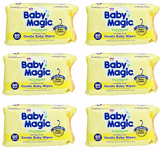 Amazon.com : Baby Magic Gentle Baby Wipes, Hypoallergenic, Soft Baby Scent, Pack of 6, (480 Wipes) : Baby