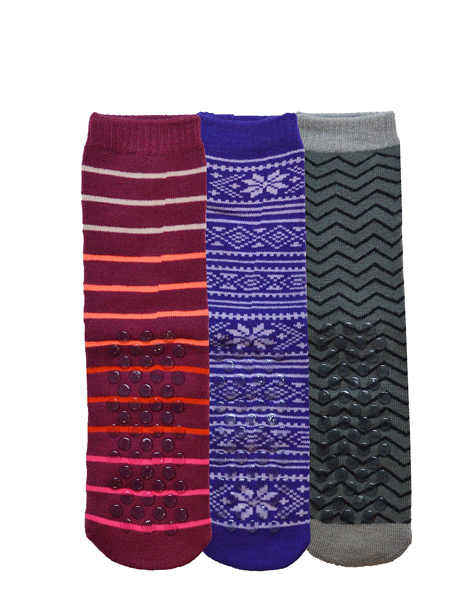 Womens Gripper Socks, Adult Non Skid Sock, Soft Cotton Slipper Socks (Womens One Size, 3 Pack Patterned)