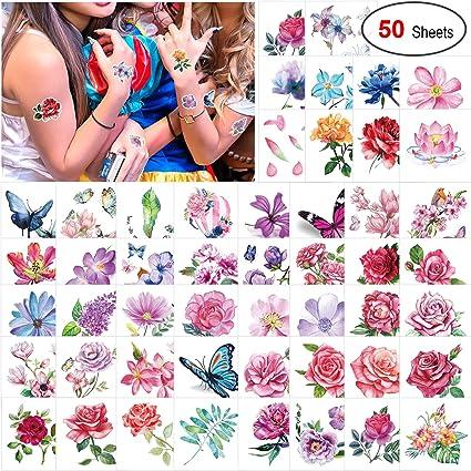 Konsait 50 hojas temporal tatuajes para adulto mujer niño, mini ...