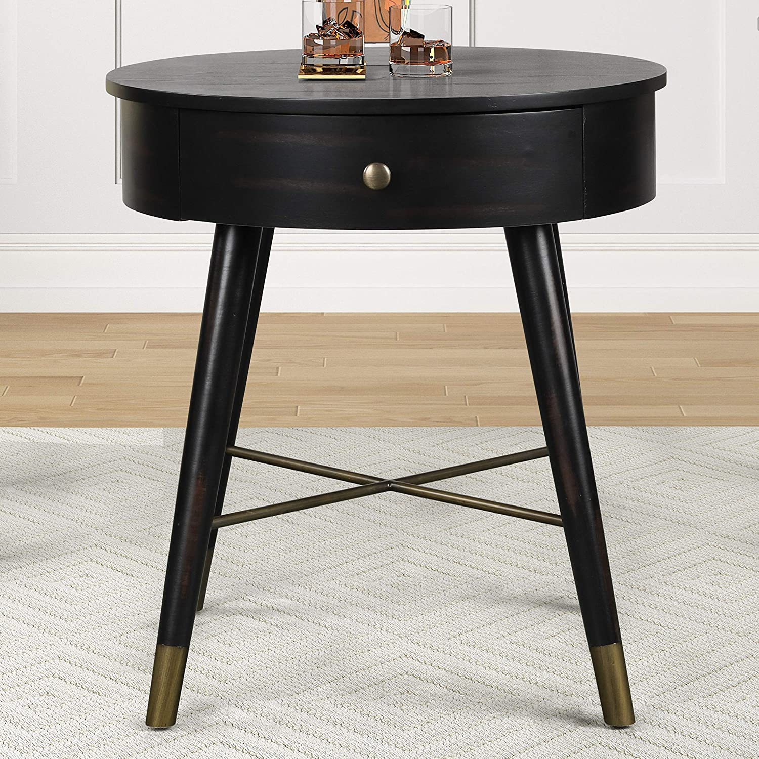 Roundhill Furniture Velsen Mid-Century Modern Wood and Metal End Table with Drawer, Antique Black