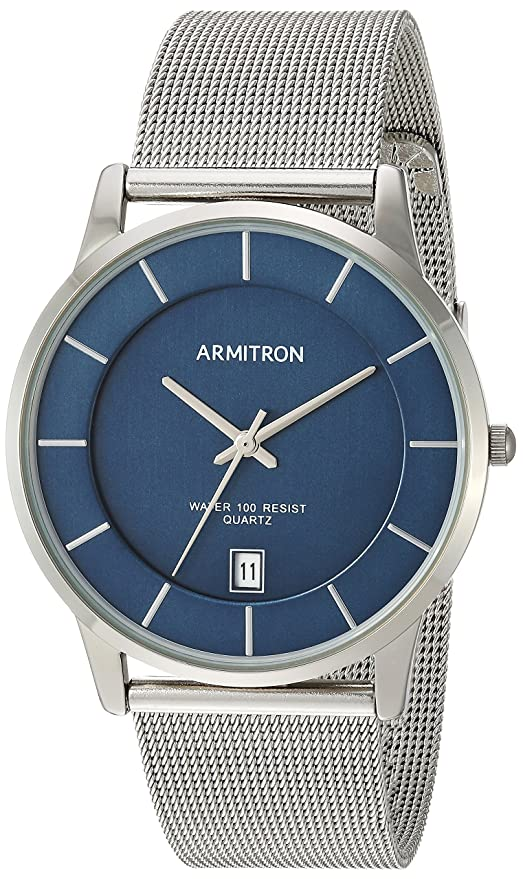 Amazon.com: Armitron Mens Date Function Dial Silver-Tone Mesh Bracelet Watch: Watches