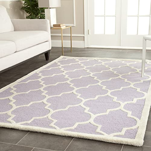 Safavieh Cambridge Collection CAM134C Handcrafted Moroccan Geometric Lavender and Ivory Premium Wool Area Rug 9' x 12'