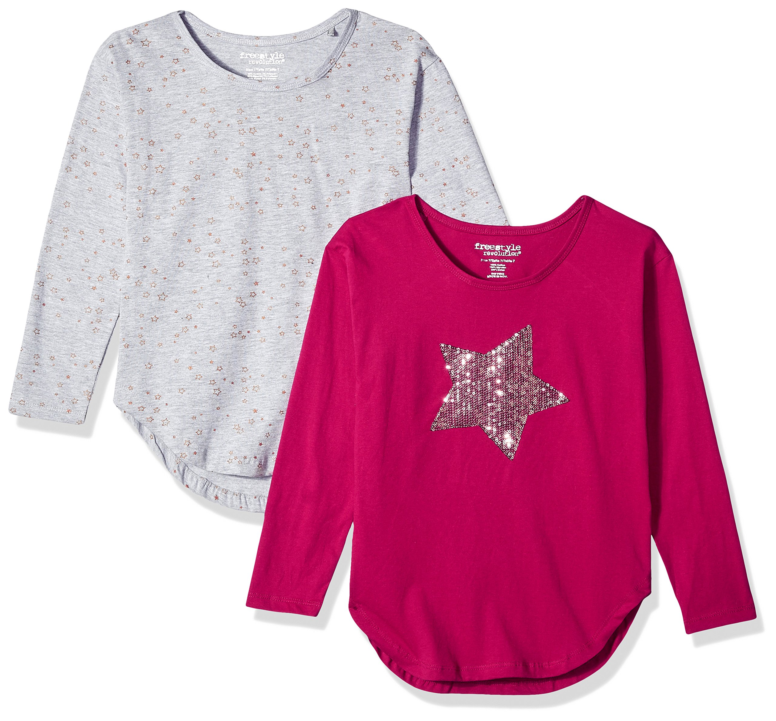 Freestyle Revolution Girls' Big 2pk Sequence Star Top Multi, 8