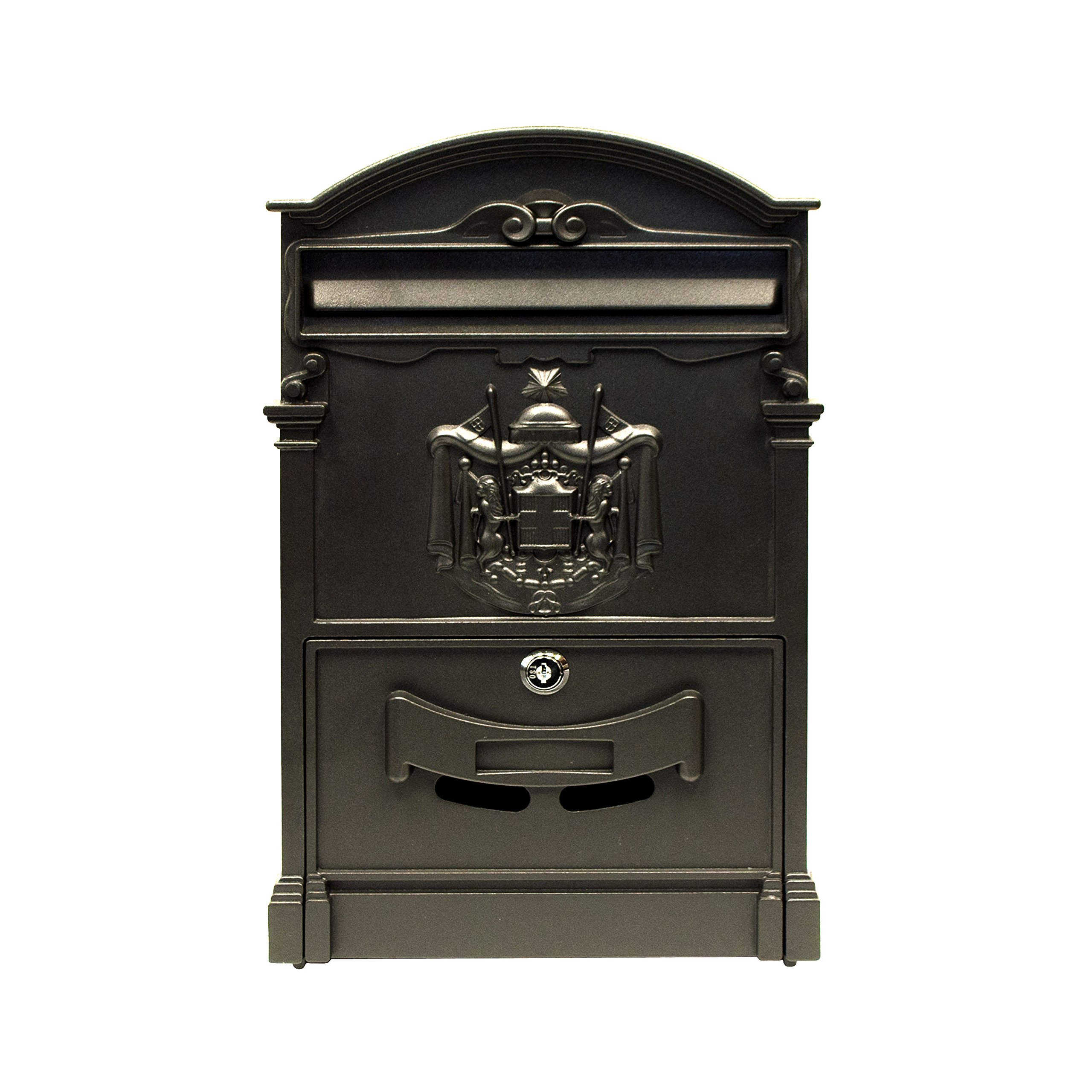 ALEKO USMB-05BK Elegant Wall Mounted Mail Box with Retrieval Door, 2 Keys and Bolts, BLACK