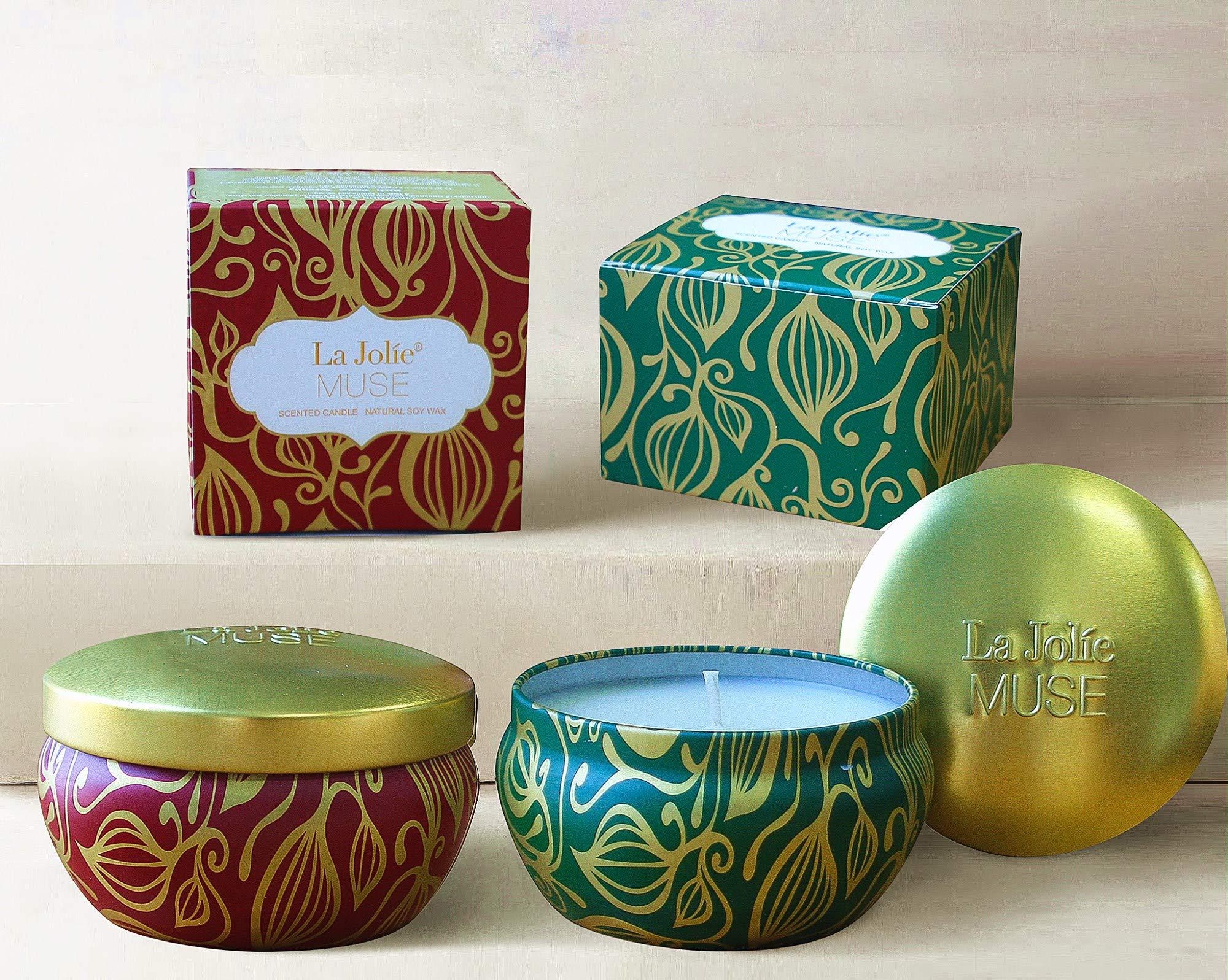 LA JOLIE MUSE Scented Candles Set 2 Cinnamon Pumpkin & Cedarwood Fir, Natural Soy Wax, Fall Winter Gift Collection