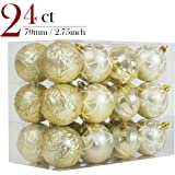 Valery Madelyn 24ct 70mm Luxury Collection Gold Beige Shatterproof Christmas Ball Ornaments Decoration 7cm/2.75inch, 24 Hooks Included, Themed with Tree Skirt(Not Included)