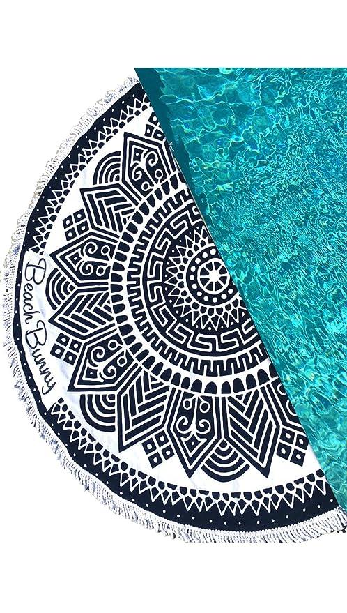 Playa toalla de conejo de baño redondo círculo negro patrón Tribal flecos