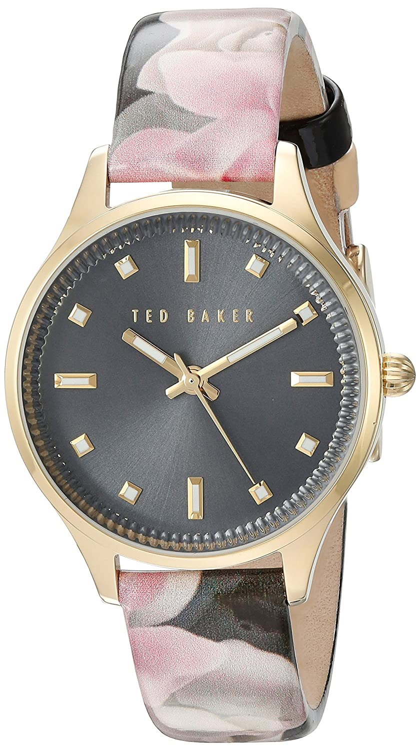 Damen Damen Gold Tone Quarz Akku Ted Baker Fashion Uhr an Lederband mit Datum. te10030742