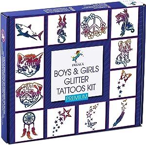 INGALA PREMIUM Glitter Tattoo Kit for Boys and Girls   Unique Professional Glitter Tattoos for Kids and Adults   74 Amazing Glitter Tattoo Stencils   2 XL (0.5fl oz) Glitter Tattoo Glue. By Ingala