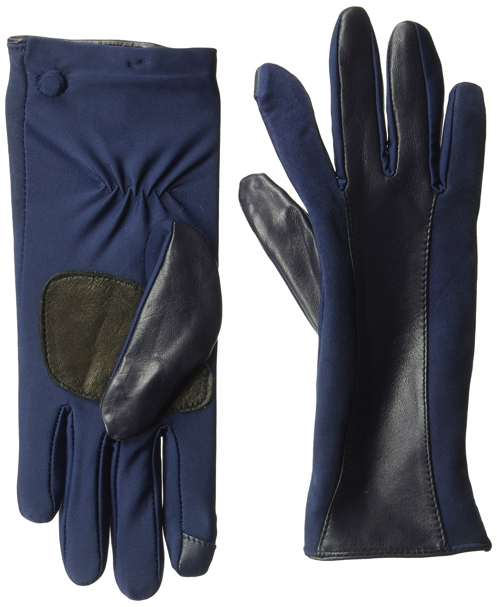 Echo Women's Leather Stripe Superfit Touch Technology Glove Accessory, -maritime navy, Medium