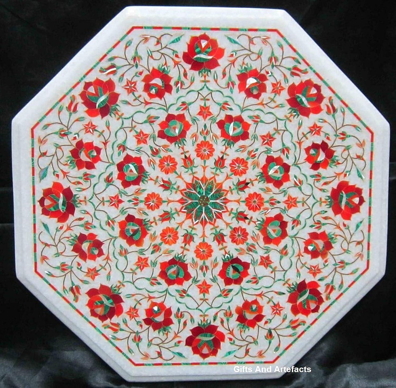 Gifts And Artefacts - Mesa de café de mármol Blanco Octogonal con Piedras semipreciosas de Jaspe Rojo para jardín, diseño Floral, Aspecto Elegante, Mesa Auxiliar de Patio, 16 Pulgadas