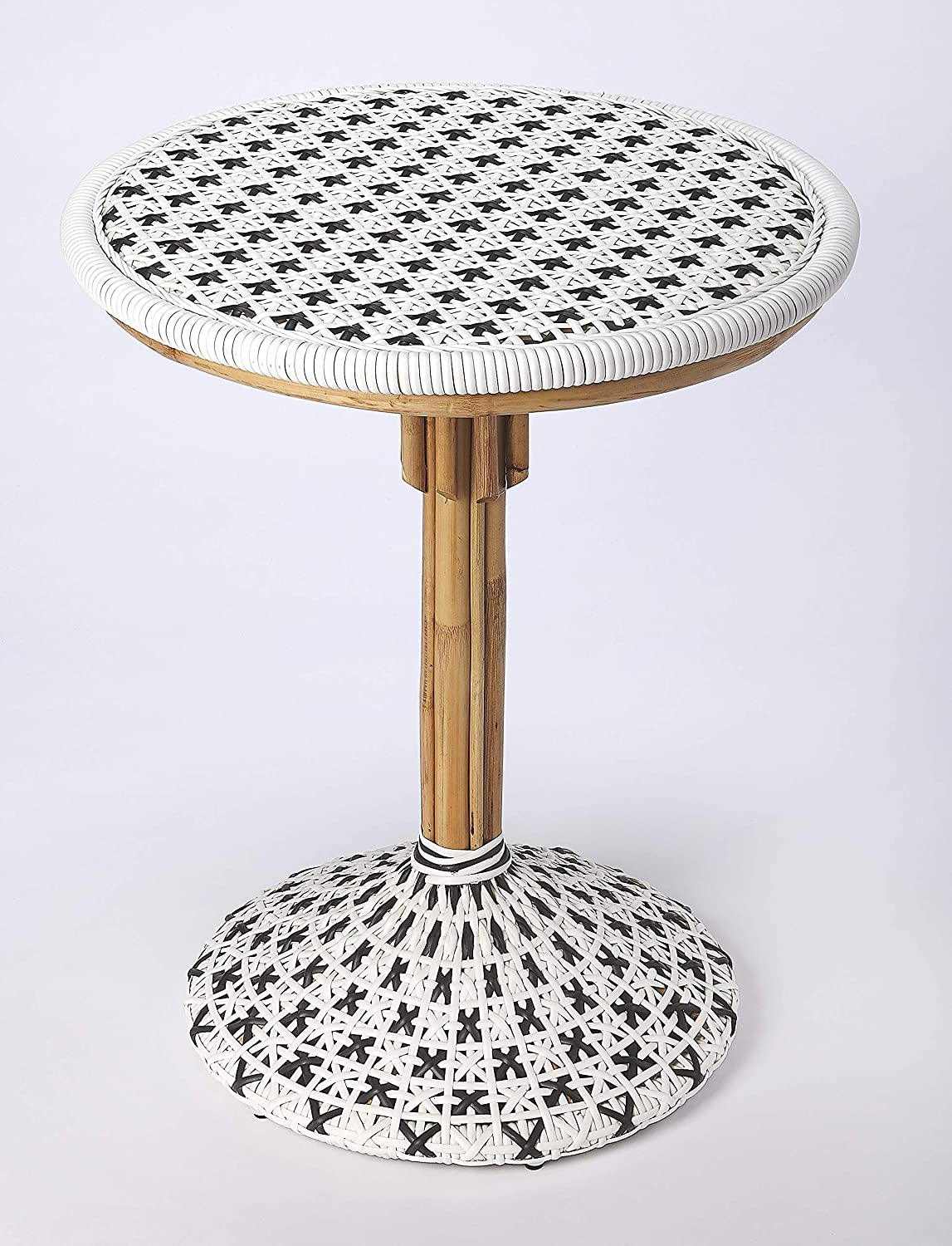 Butler Specialty Tenor Rattan Bistro Table in White and Black