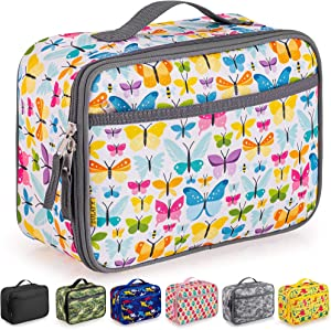 Zulay Insulated Lunch Bag - Thermal Kids Lunch Bag With Spacious Compartment & Built-In Handle - Portable Back To School Lunch Bag For Kids, Boys, & Girls To Keep Food Fresh (Butterflies)