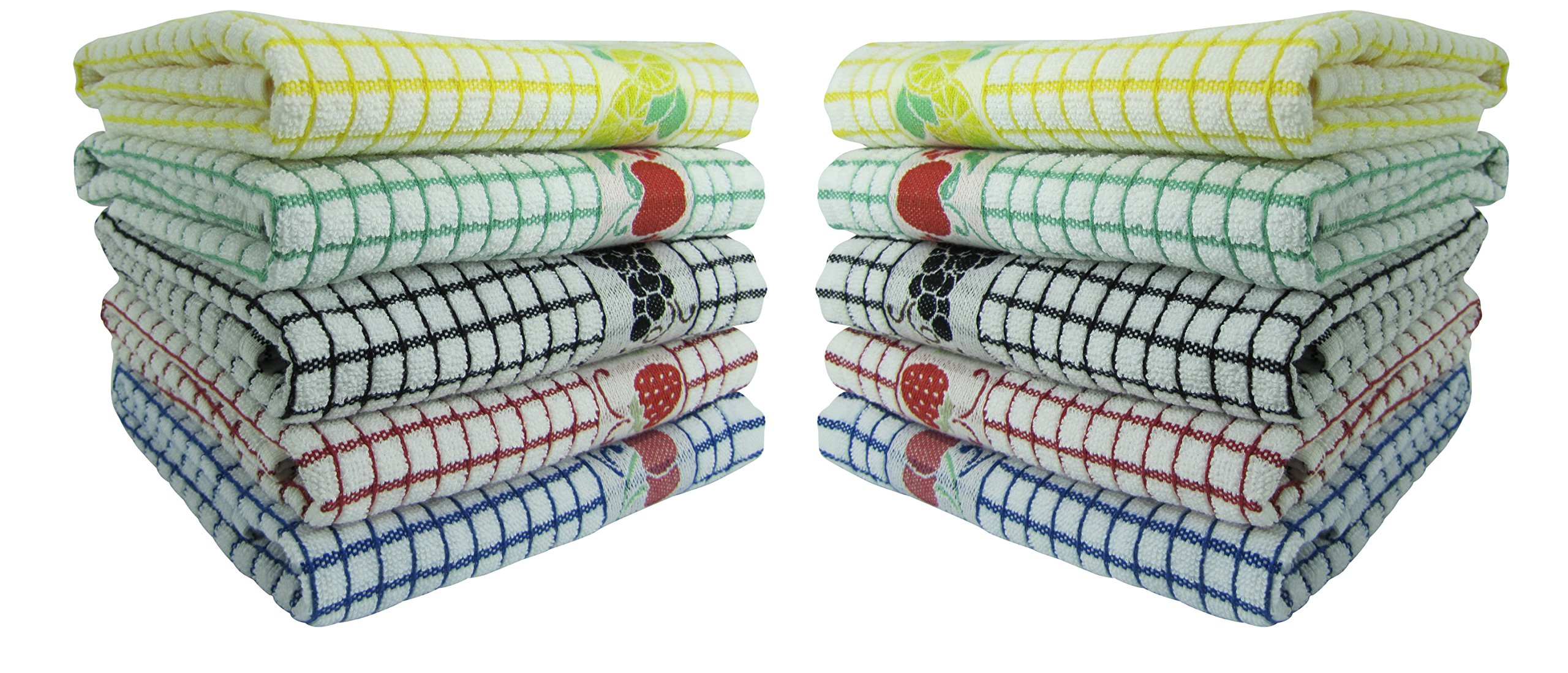 Fecido Fruity Kitchen Collection Complete Set Dish Towels - Heavy Duty - Super Absorbent - 100% Cotton - The Best European Tea Towels With Fruit Design, 10 Pack by Fecido