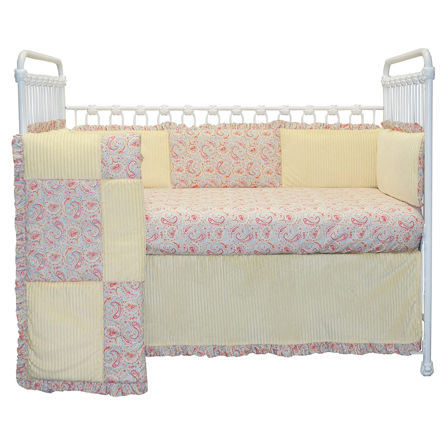 Cotton Tale Designs 100% Cotton Made in The USA Soft Minky Corduroy Country Patchwork Yellow, Pink, Blue Floral Paisley, Shabby Chic Marie 4 Piece Nursery Crib Bedding Set - Baby Shower Gift Girl/Boy 91UC0xfxrmL._SL1500_
