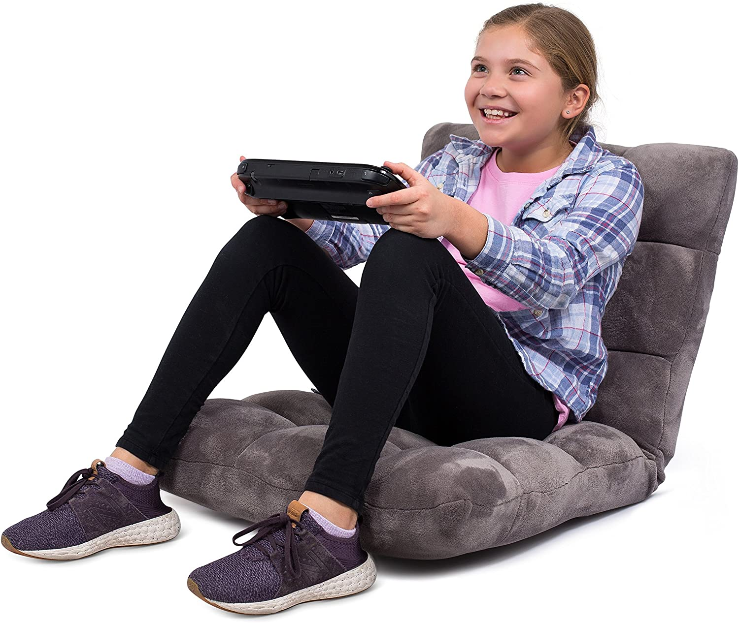 BIRDROCK HOME Adjustable 14-Position Memory Foam Floor Chair – Padded Gaming Chair – Comfortable Back Support – Rocker – Great for Reading Games Meditating – Fully Assembled – Grey