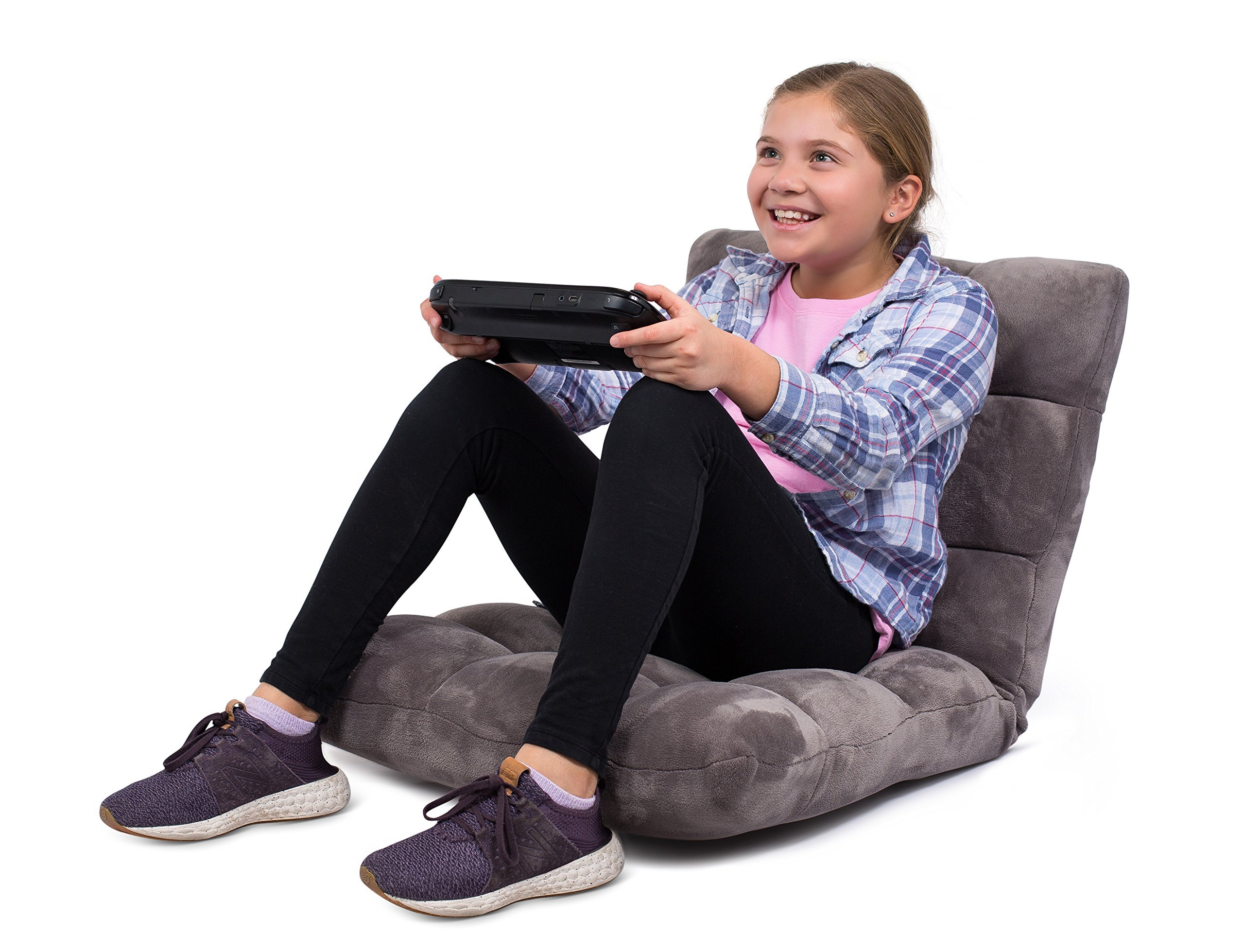 BIRDROCK HOME Adjustable 14-Position Memory Foam Floor Chair - Padded Gaming Chair - Comfortable Back Support - Rocker - Great for Reading Games Meditating - Fully Assembled - Grey by BIRDROCK HOME