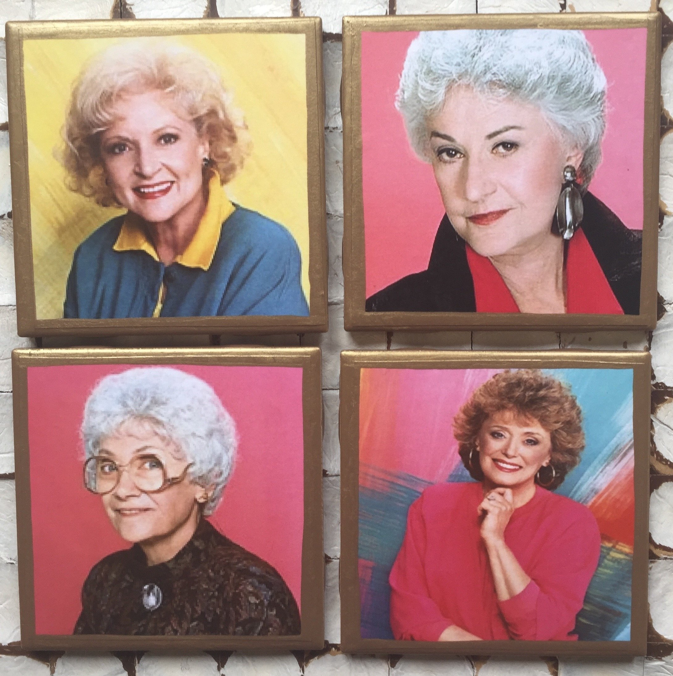 Golden Girls Coasters with Gold trim by CraftsandtheCity