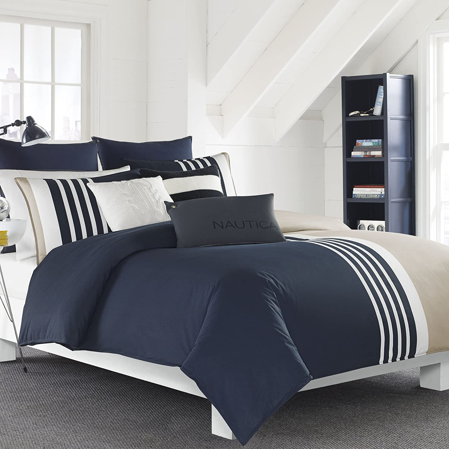 Nautica 221408 Aport Comforter Set, Navy, Full/Queen