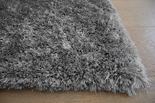 LA Solid Shag Shaggy Plush Woven Braided Hand Knotted Feizy Accent Fluffy Fuzzy Modern Contemporary 8-Feet-by-10-Feet Polyester Made Area Rug Carpet Rug Silver Color