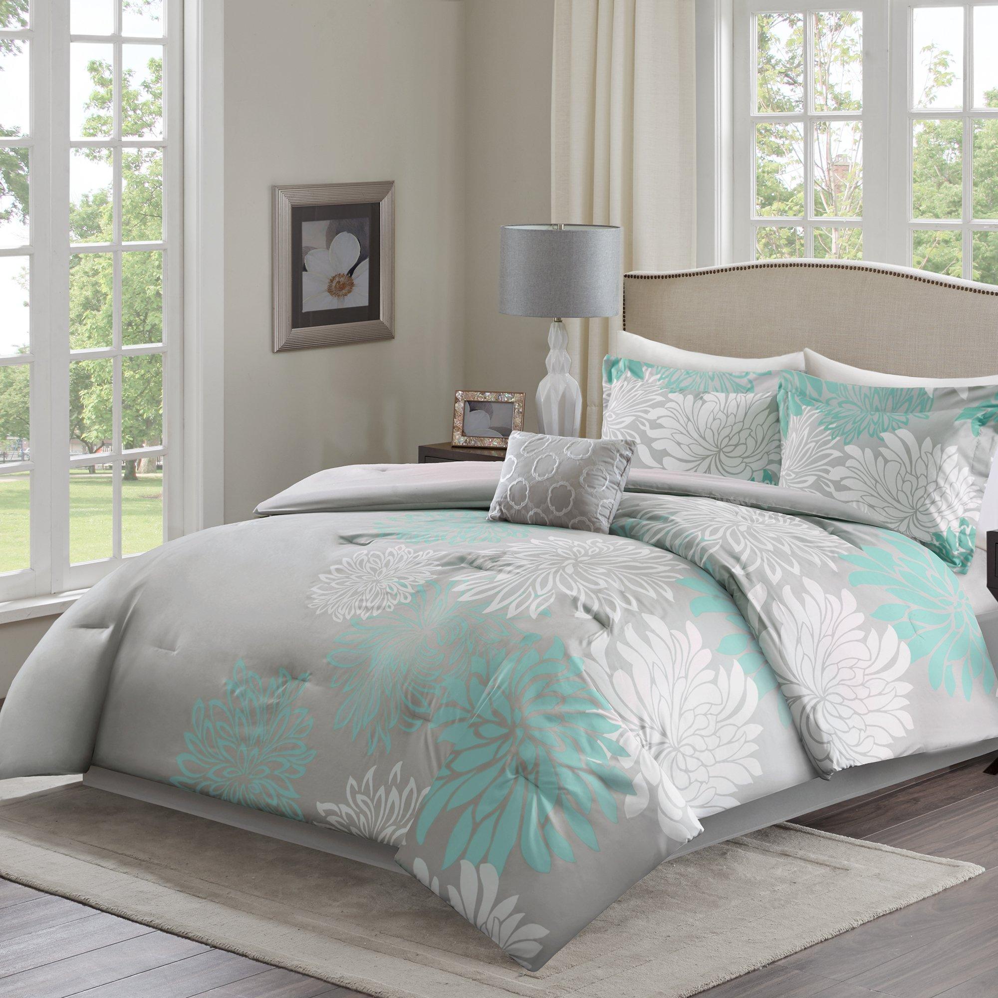 Comfort Spaces – Enya Comforter Set - 5 Piece – Aqua, Grey – Floral Printed – Full/Queen Size, Includes 1 Comforter, 2 Shams, 1 Decorative Pillow, 1 Bed Skirt