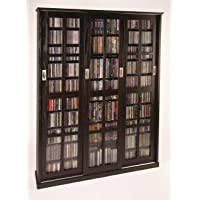 Leslie Dame Mission Style Multimedia Storage Cabinet with Sliding Glass Doors, Espresso