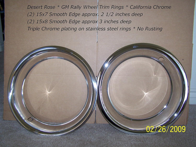 """CHEVY GMC 6 LUG 15/"""" RALLY WHEEL 3/"""" DEEP TRIM RINGS BEAUTY RIM RING STEEL WHEELS"""