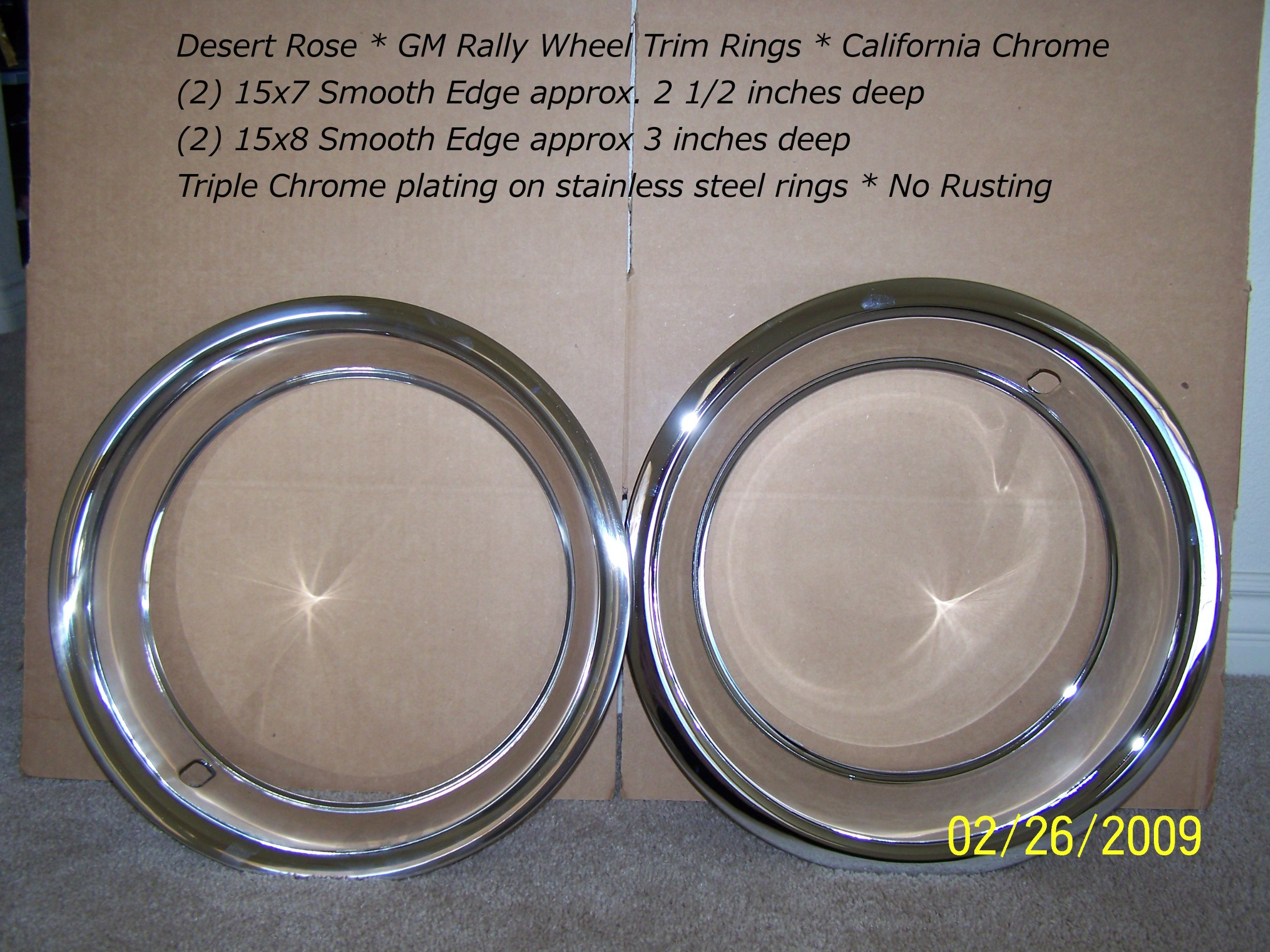 15x8 Pair and 15x7 Pair Chrome Stainless Steel Trim Rings (15x7/15x8)