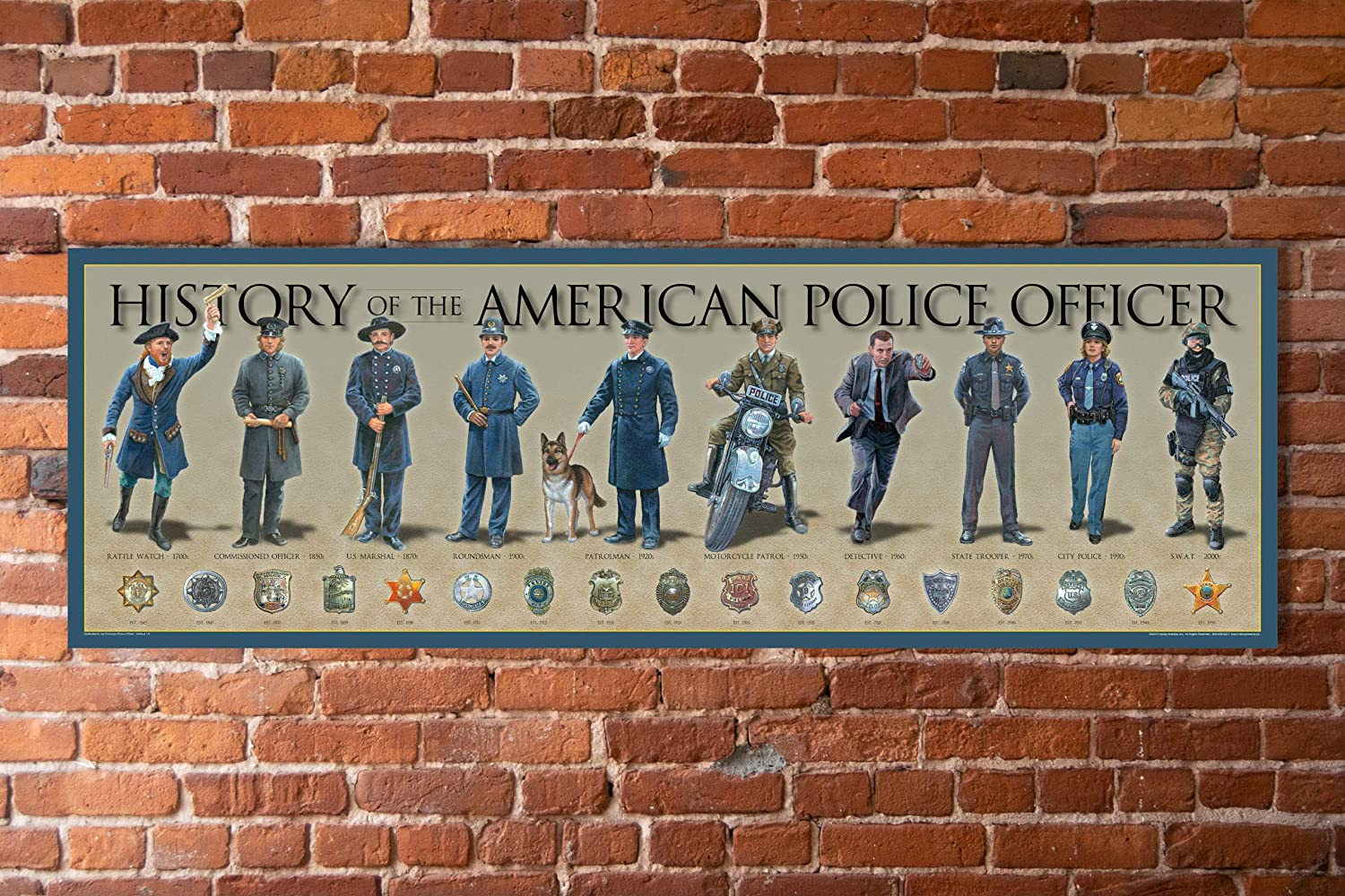 """History of The American Police Officer Poster 11 3/4"""" by 36"""" Timeline Print"""