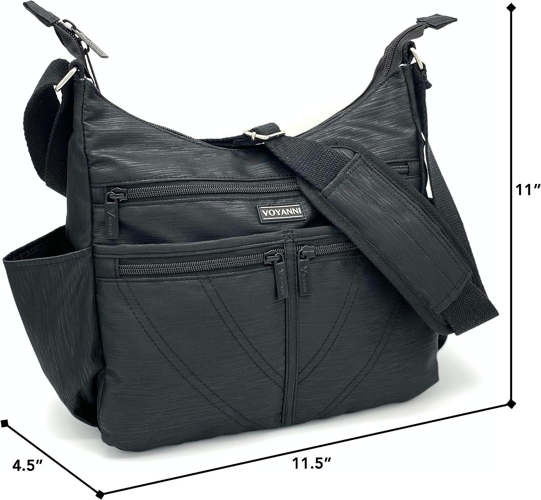 Women/'s Shoulder Bag Work Travel Handbag Satchel Multi Zips Cross Body Bag