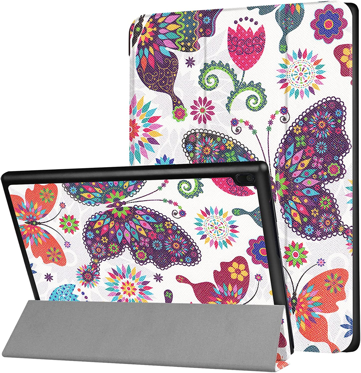UUCOVERS Folio Case for Lenovo Tab 4 10 2017 (TB-X304F/TB-X304N), Slim Ligntweignt Smart PU Leather Tri-fold Shell Multi-Angle Standing Folio Shockproof Cover with Auto Sleep/Wake, Colorful Butterfly