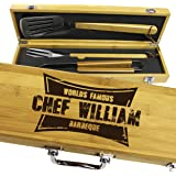 Personalized Engraved Grill BBQ Gifts Set for Men Dad Father Him - Barbecue Grilling Set with Tools