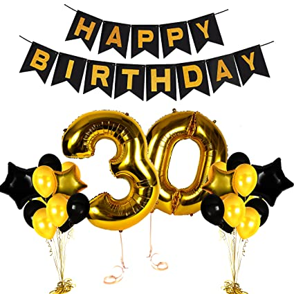 Treasures Gifted Golden Happy 30th Birthday Party Decorations Numbers Balloons And Photo Booth Props Valentines Bday