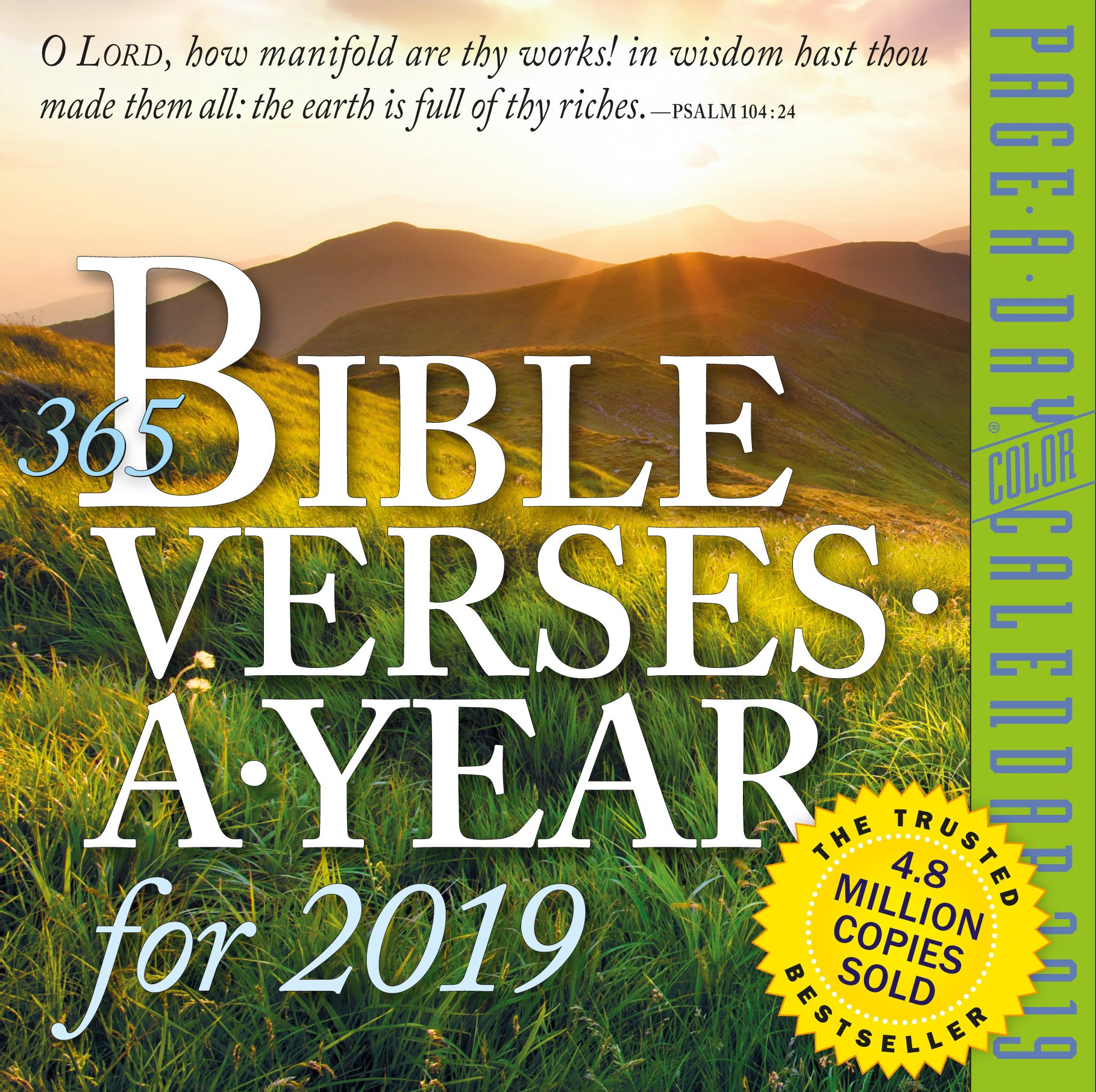 365 Bible Verses-A-Year Color Page-A-Day Desk Calendar 2019 [6'' x 6'' Inches]