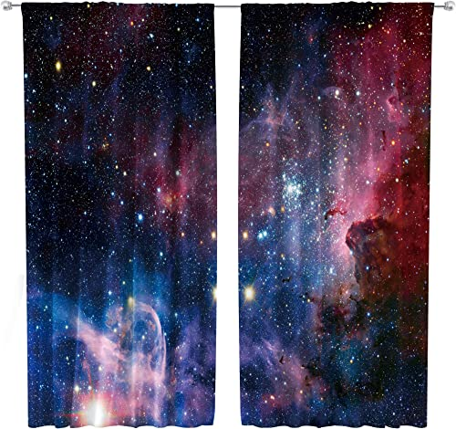 Riyidecor Outer Space Curtains Rod Pocket Galaxy Universe Colorful Psychedelic Planet Nebula Starry Sky Astronomic Living Room Bedroom Window Drapes Treatment Fabric 2 Panels 52 x 84 Inch