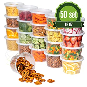 Plastic Food Storage Containers with Lids - 50 Pack Lunch Deli Slime Small Round Clear Soup, Food Saver Container [ BPA Free, Reusable or Disposable, Dishwasher, Microwave & Freezer Safe] (16oz)
