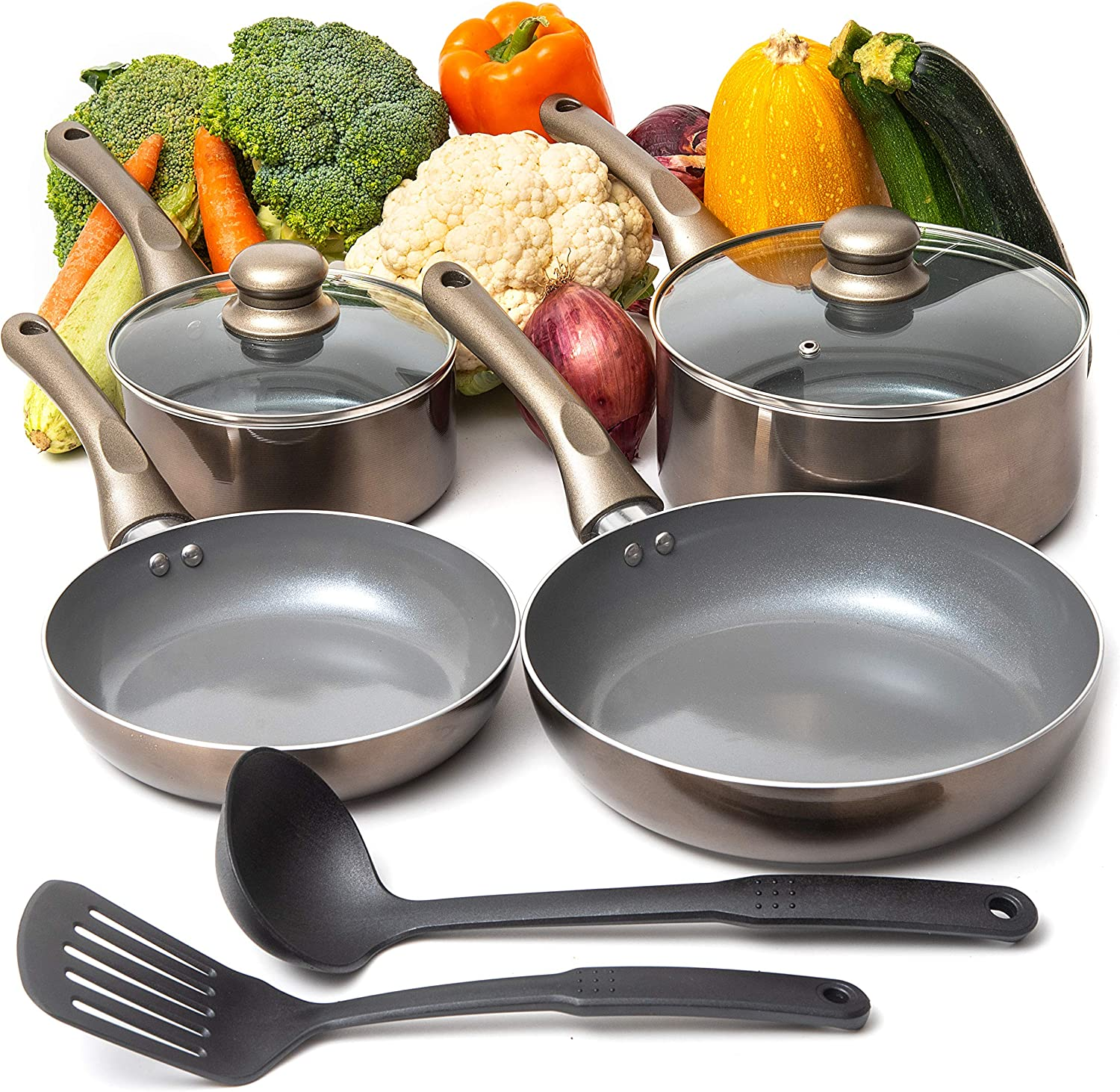 8PCS Nonstick Cookware Set, Aluminum Pots and Pans with Cooking Utensils, Induction Cookware, Oven Safe, Pots and Pans Set with Glass Lid by Moss & Ston
