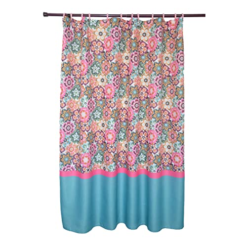 Waffle Texture Folk Multi Colored Bright Floral Pattern Shower Curtain