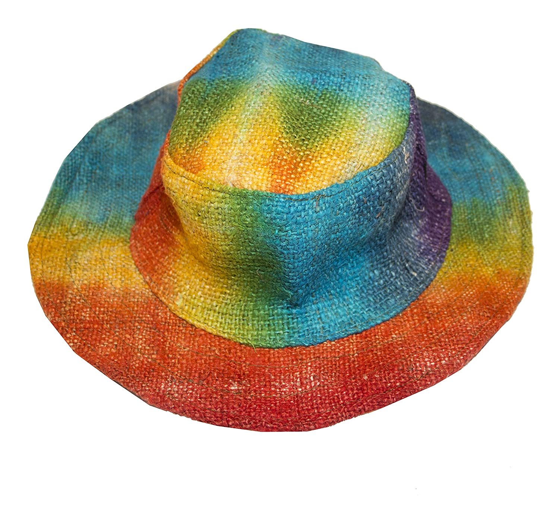 Gheri Mens 100/% Hemp Natural Straw Summer Hat Beach Boater Panama Wide Brim Summer Holiday