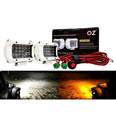 """4"""" White High Output Dual Color White Amber LED POD light Flasher Strobe Optic Lens DT Plug HarnessEmergency Driving Fog Spot Light for Offroad Truck SUV ATV Motorcycle Boat Marine 12-32 volts: Automotive"""