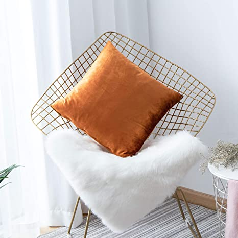 Amazon Com Home Brilliant Decor Velvet Europe Pillow Sham Large Cushion Cover Pillow Case For Bed Office Cafe 26 X 26 Inch 66cm Copper Kitchen Dining
